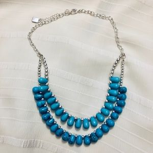Faux Turquoise Chaps Layered Necklace